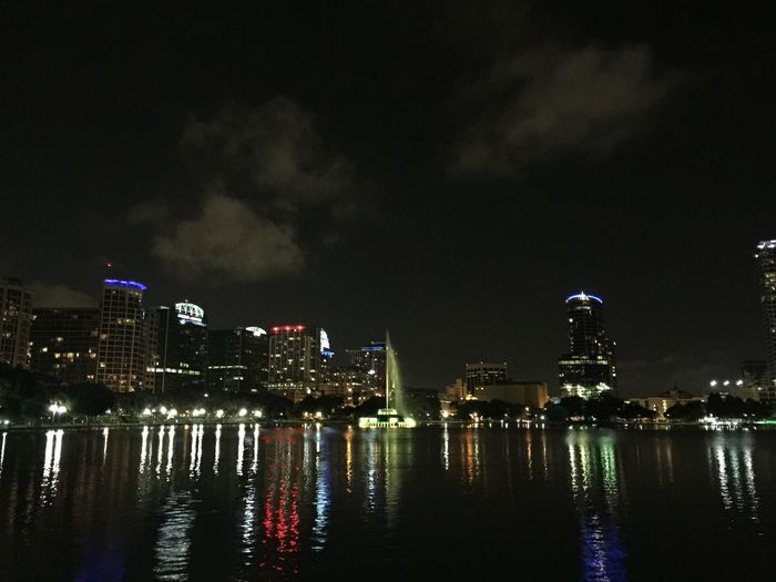 My city Downtown Orlando Florida Lake Eola Beautiful Fountain Colors Lake Reflection On Point