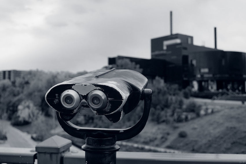 Focus On Foreground Binoculars Equipment Close-up Sky Exploration Manuallens Selective Focus Minneapolis Blackandwhite MinneapolisPhotography Urban Skyline Cityscape City