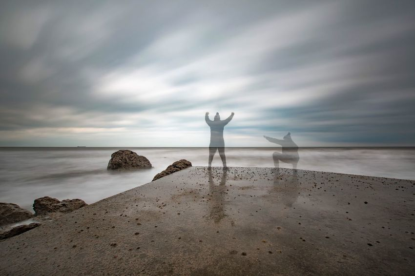 Sea And Sky Seascape Seascape Photography Ghosting Cloud - Sky Sea Arms Raised Longexposurephotography Nikonphotographer Nikond7200 Long Exposure Sigma10-20 NiSi Filters Nisi Amazing Nikon Clouds And Sky Seascapes Nikon_photography