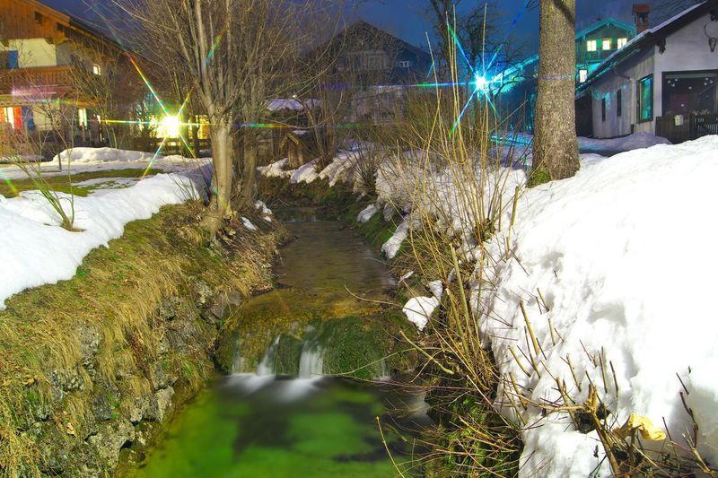 Long Exposure Nightphotography Creek Bavaria Bayrischzell Starfilter LongTerm Avaible Light Travel Landscape Snowscape Nature Night Cold Temperature Winter