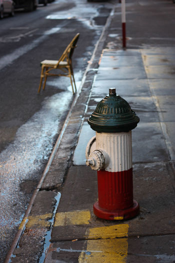 Bollard Close-up Day Empty Fire Hydrant Focus On Foreground Illuminated Little Italy New York City No People NY Outdoors Pole Red The Way Forward