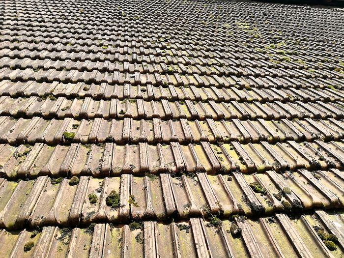 Old roof structure Roofing Roof Tile Old Roof French Roof Backgrounds Full Frame Textured  Pattern Rooftop Chimney Tiled Roof  Roof Housing Settlement TOWNSCAPE Eaves Paved Stone Tile Repetition LINE Cracked