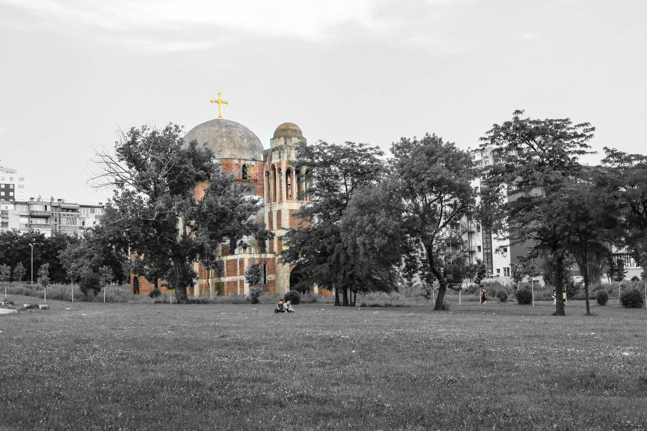 tree, architecture, religion, history, place of worship, travel destinations, built structure, dome, spirituality, building exterior, day, outdoors, sky, no people, city, nature
