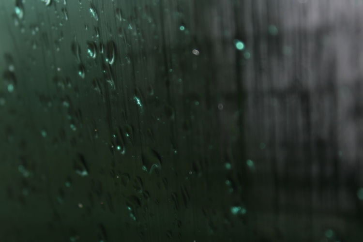 Close-up of raindrops on glass