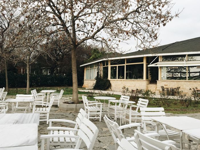 Empty restaurant terrace with white furniture in the garden in Istanbul Architecture Beautiful Cafe Chairs Empty Restaurant EyeEm Best Shots EyeEm Nature Lover Furniture Garden Istanbul Nature Open Terrace Park Restaurant Tables Terrace Travel Traveling Tree Turkey Yeem Best Shots