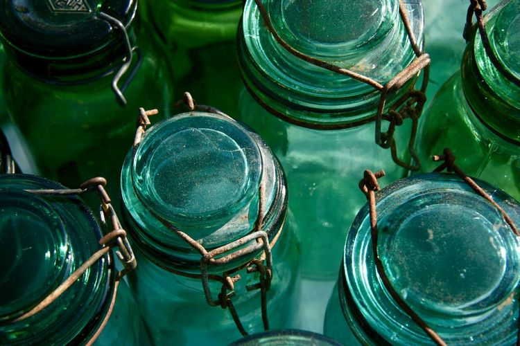Backgrounds Bottle Close-up Container Crockery Empty Full Frame Glass Glass - Material Green Color High Angle View Household Equipment Jar Large Group Of Objects No People Outdoors Still Life Turquoise Colored