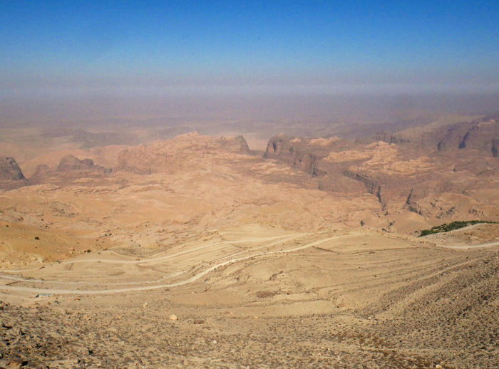 High angle view of desert land against sky