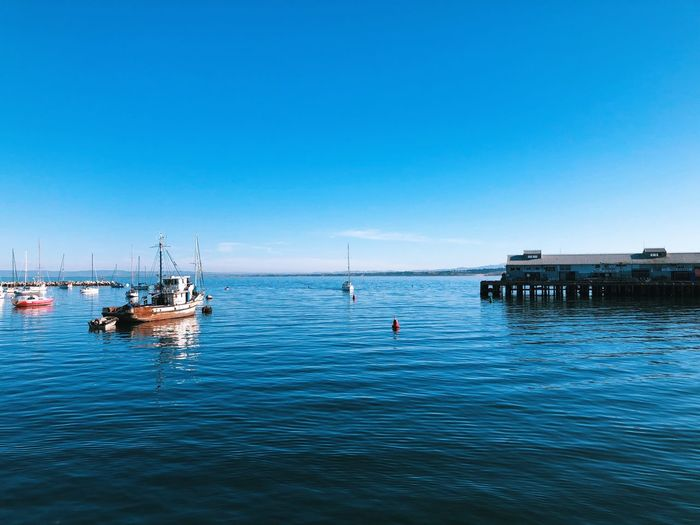 Nautical Vessel Water Sea Mode Of Transport Transportation Blue California Dreamin Horizon Over Water No People Waterfront Day Sky Harbor Beauty In Nature Clear Sky Tranquility Nature Outdoors Scenics