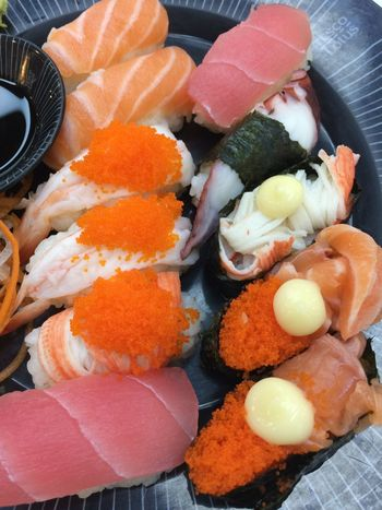 Food Food And Drink Seafood Wellbeing Still Life Healthy Eating Japanese Food Freshness Sushi Ready-to-eat Indoors  Rice Asian Food High Angle View Close-up No People Variation Serving Size Plate
