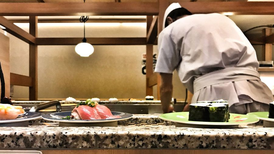 sushi time Chef Traveling Asakusa Dinner Japanese Food Sushi Indoors  Food Food And Drink Table Men Adult Adults Only