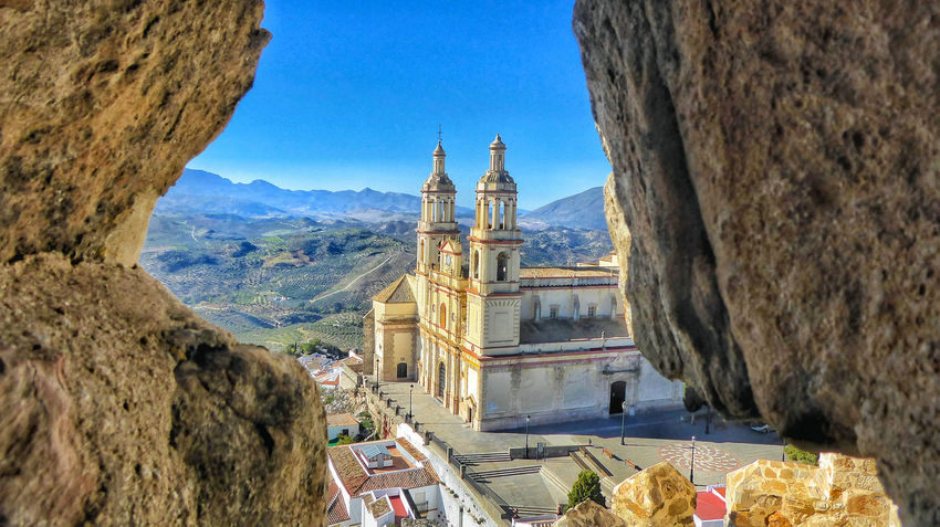 View of Church from the Castle Olvera Spain Architecture Built Structure Church Architecture Mountains Place Of Worship Pueblos Blancos Rock Travel Castle Historic