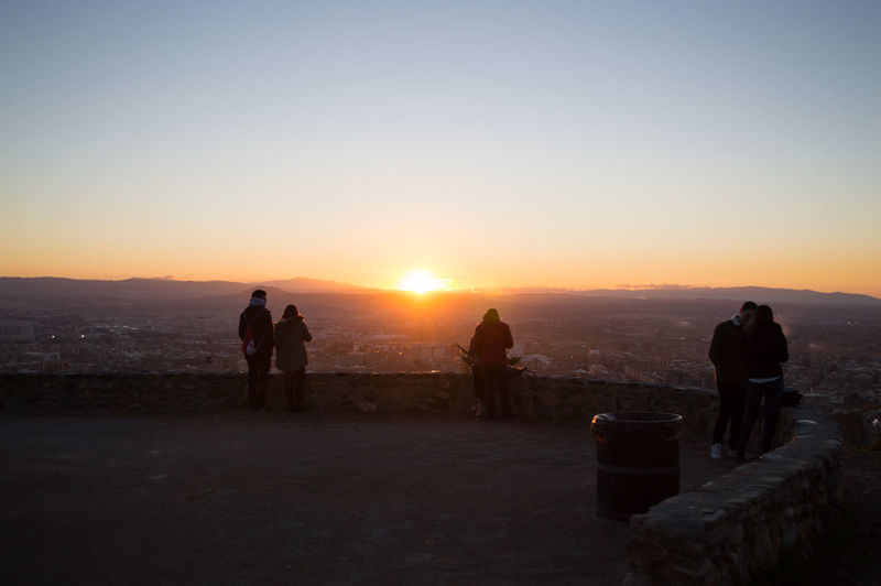 Granada, Spain SPAIN Europe Travel Destinations Mirador Del Barranco Del Abogado Sunset Group Of People Sky Real People Leisure Activity Men Lifestyles Nature Beauty In Nature Silhouette Clear Sky Standing Land Scenics - Nature Women Sun People Copy Space Adult Mountain Outdoors