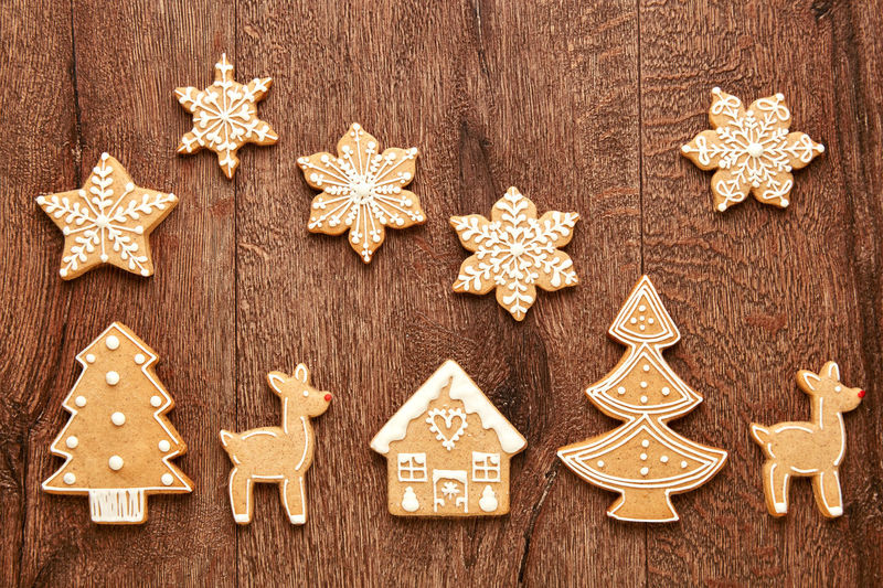 High angle view of christmas decorations on wooden floor