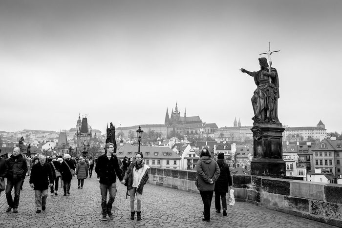 on Charles Bridge Architecture Black And White Charles Bridge Karlův Most St. Vitus Cathedral Statue Streetphoto_bw Streetphotography Travel Photography
