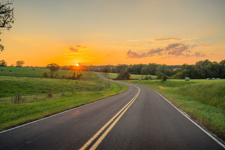 Driving Beauty In Nature Cloud - Sky Diminishing Perspective Direction Environment Field Grass Land Landscape Nature No People Orange Color Outdoors Plant Road Scenics - Nature Sky Sun Sunset The Way Forward Tranquil Scene Transportation Tree Winding Road
