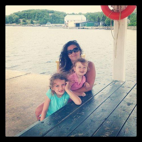 Girls and I at the marina Parrysound Boats Getaway  Beautiful