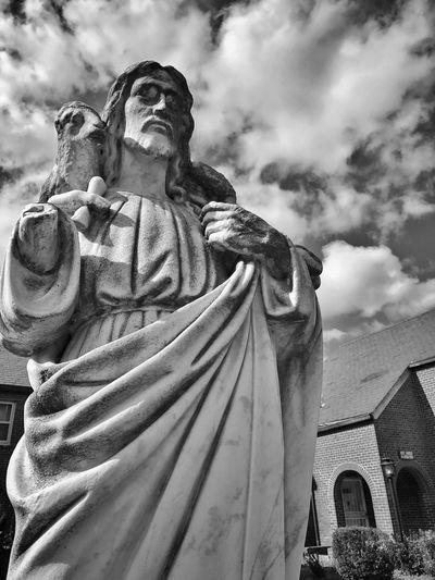 Jesus Jesus Christ Church Savior Statue Dramatic Sky Peace Lamb Blackandwhite IPhoneography