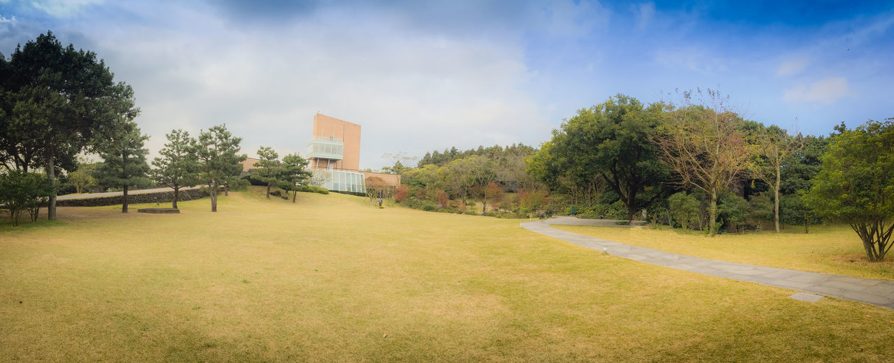 Jeju Island, South Korea - November 12, 2016: Beautiful of Osulloc tea museum garden in blue sky background, the famous green tea museum in Jeju island, South Korea Famous Gardening Osulloc Tourist Tourist Attraction  Architecture Blue Sky Blue Sky And Clouds Building Exterior Built Structure Day Famous Landmarks Grass Landmark Building Landscape Nature Outdoors Sky Tea Crop Tea Museum Thing To Do Thing To See Tourism Tourist Destination Tree