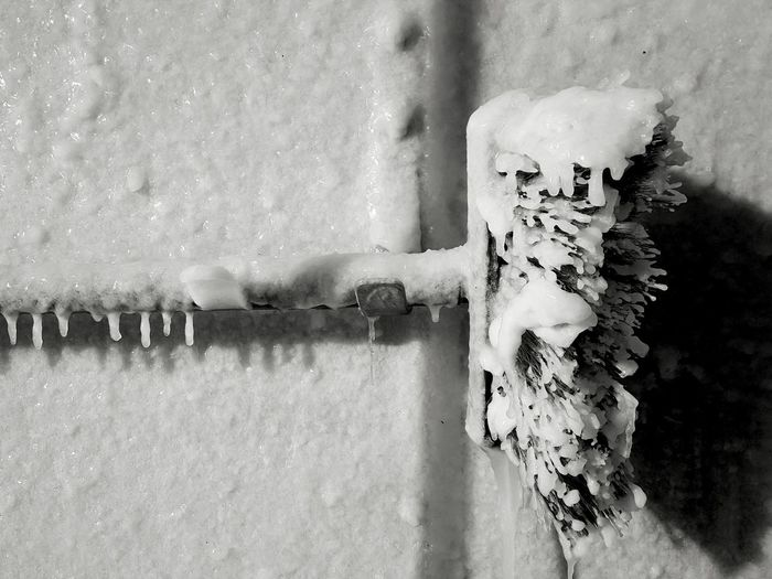 Icy brush-off. Snow Icicles Cold Temperature Nature Outdoors No People Close-up Frozen Coldness Dismissal Winter Iciness Shadow Black And White Photography Blackandwhite Black & White Black And White Eyeemphoto EyeEm Best Shots - Black + White