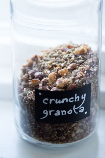 Script Breakfast Close-up Communication Container Crunchy Focus On Foreground Food Food And Drink Freshness Glass - Material Granola Healthy Eating Indoors  Indulgence Jar No People Nut Nut - Food Still Life Temptation Text Transparent Wellbeing Western Script