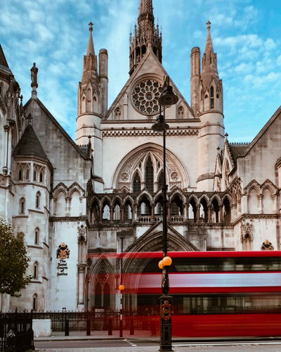 Royal courts of justice against sky in city