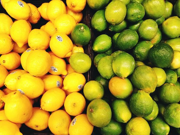 Lemon Lime Lemons Limes Bright Color Citrus Fruit Sour Fresh Produce Market Market