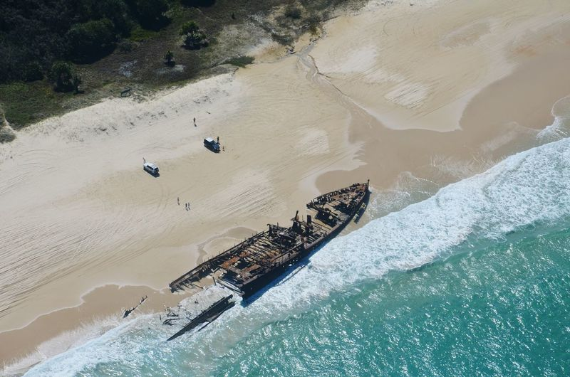 High angle view of abandoned ship at sea shore