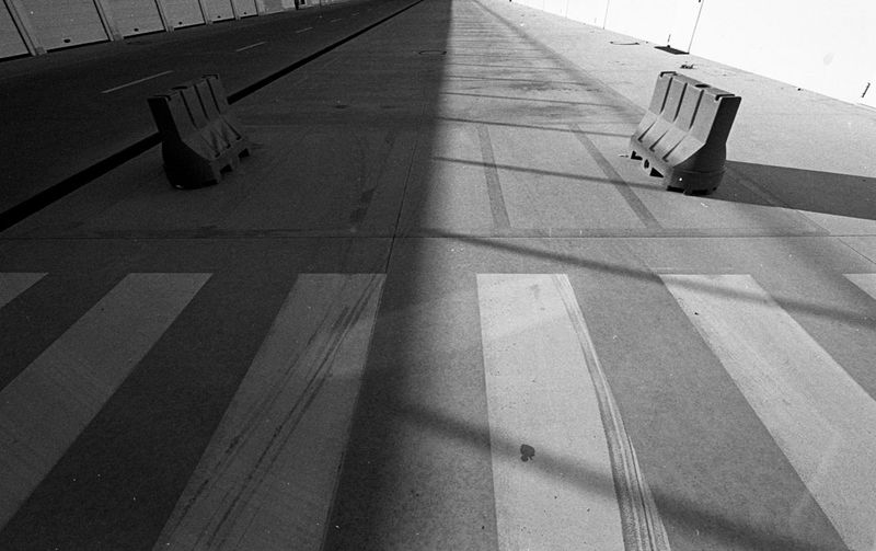 Manfredonia, 2017. Shadow Stripes Pattern Street Stripes Sunlight High Angle View Day No People Outdoors Black & White Analogue Photography Tmax400 Wide Angle Geometry Monochrome