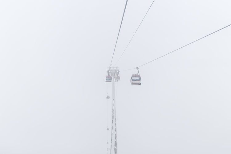Overhead cable cars during foggy weather