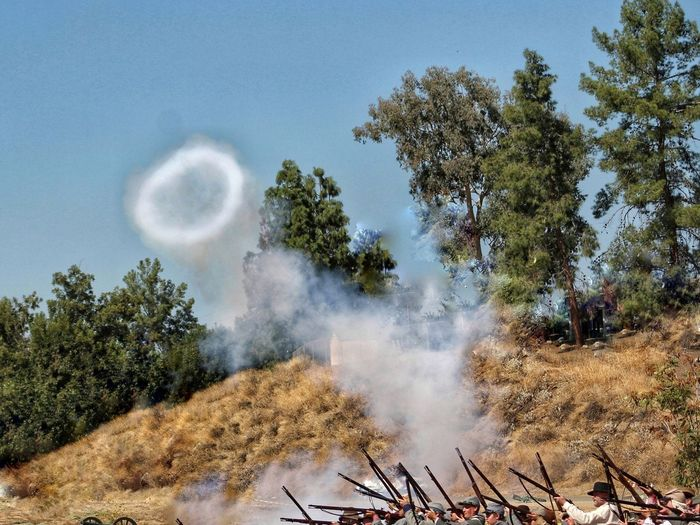 Outdoors Smoke Ring Civil War Re-enactments Canon Smoke Ring Roll Playing Blue Sky History Lesson Outdoor Photography Muskets Costumes