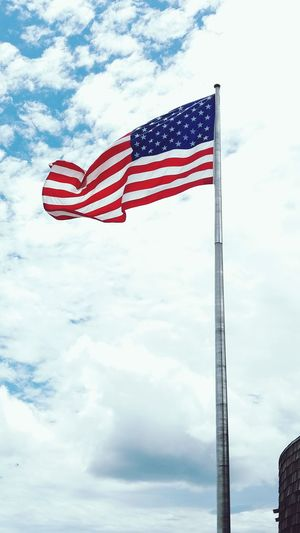 Patriotism Flag Striped Stars And Stripes Cloud - Sky No People Pride Sky Blue Red Outdoors Day Flying Close-up