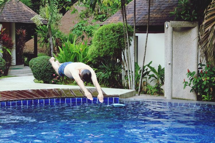 Water Swimming Pool Day Tree No People Slomotion Jumping Jumpshot Nature Outdoors