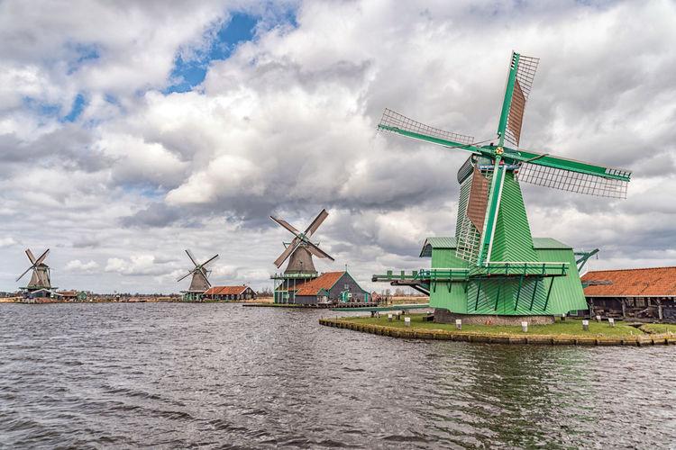 Dutch mills in Zaanse Schans, Netherlands Green Holland Netherlands No People River Sawmill Water Wind Wind Power Windmill Windpower Zaanse Schans