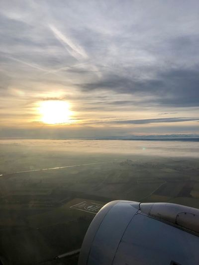 In the air... Airplane Air Vehicle Aerial View Journey Transportation Aircraft Wing Sunset Cloud - Sky Sky Flying Jet Engine Beauty In Nature No People Mid-air Cloudscape Outdoors Travel Mode Of Transport