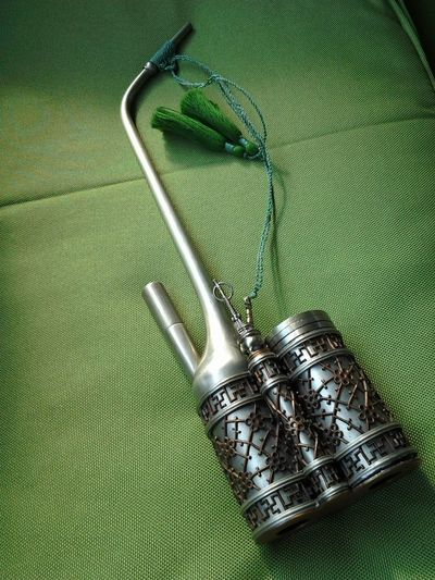 Close-up Green Color Metal No People Oppium Pipe Paktong Still Life Wate Pipe