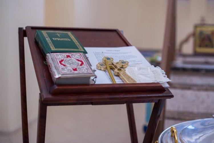 Close-up of religious books