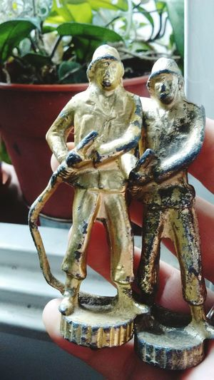 Statue Sculpture No People Close-up Fireman Old Antique Object Metal Figures Metallic