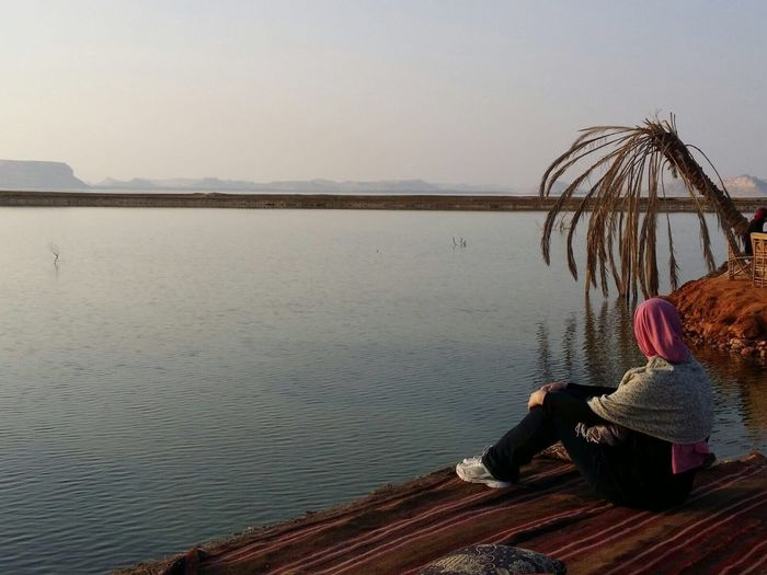 One Person Sitting Lake Outdoors Women Water Sky Nature Day Siwa Oasis Contemplating