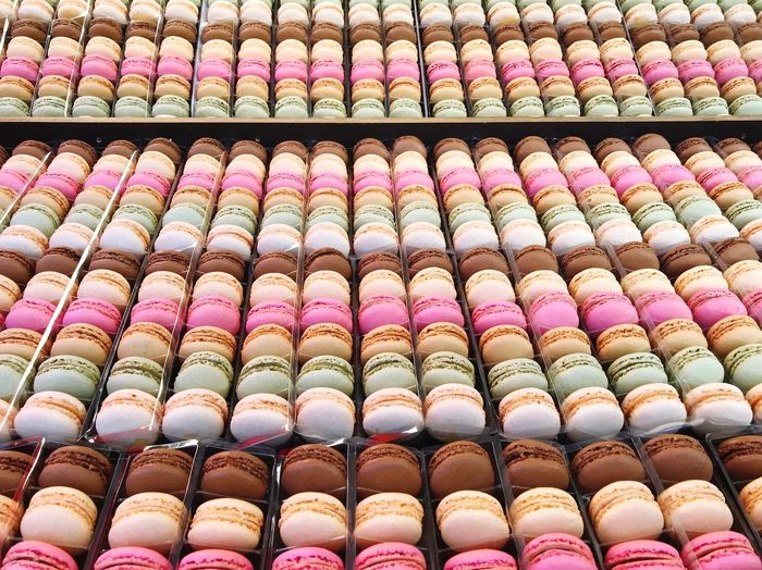 Macarons Cookies Dessert Food Macarons Large Group Of Objects Multi Colored Arrangement In A Row Full Frame Backgrounds Order No People