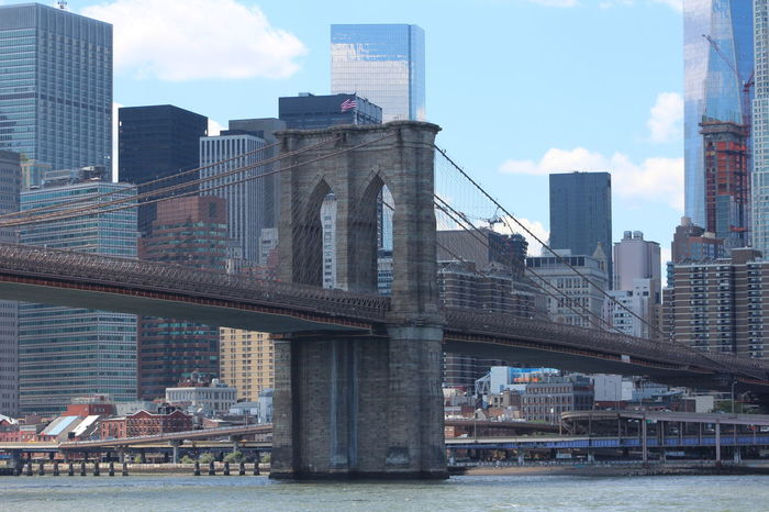 Architecture Brooklyn Bridge  Building Building Exterior Built Structure Capital Cities  City City Life Cityscape Cloud Cloud - Sky Day Modern New York New York City No People Office Building Outdoors Residential Building Sky Skyscraper Tall - High Travel Destinations Urban Skyline Water