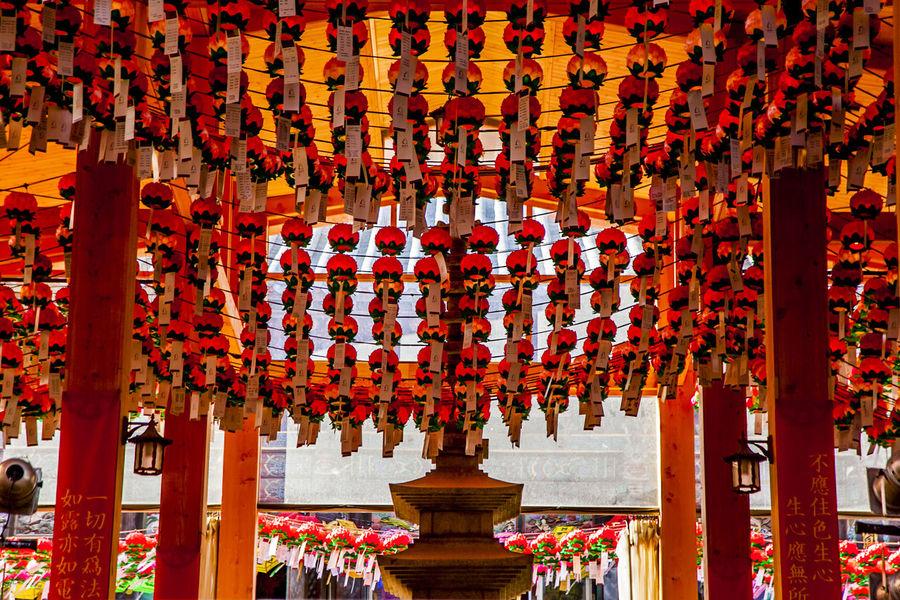 Architecture Arrangement Art Art And Craft Bongeunsa Buddhist Temple Building Exterior Built Structure Creativity Culture Cultures Human Representation Lotus Lantern Lotus Lantern Festival Place Of Worship Religion Sculpture Spirituality Statue Stone Tower Temple - Building Tradition Variation