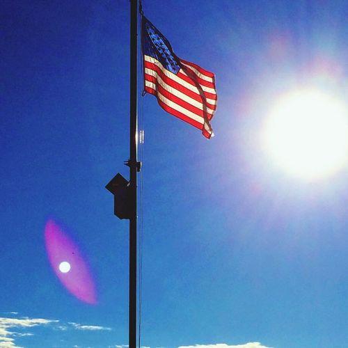 American Flag Sun Moon Colorado Pueblo Blue Sky America 🇺🇸