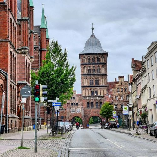 Cloudy Sunday morning at the Burgtor in Lübeck, Germany. Business trip, June 2016. Germany Lübeck Schleswig-Holstein Travel