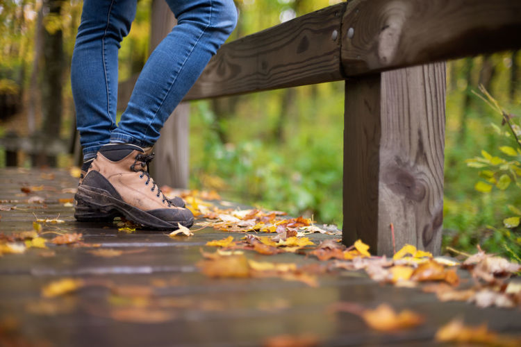 Low section of person wearing autumn leaves