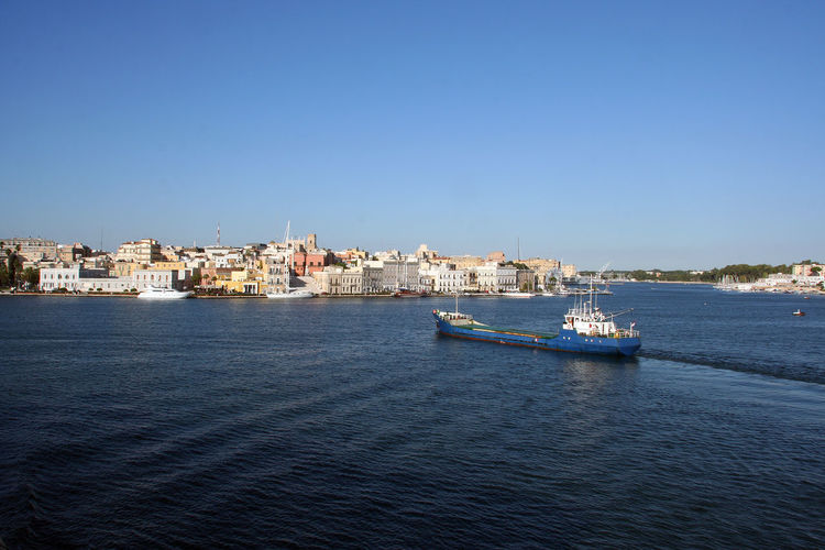 View of Brindisi from the ship Puglia Puglia South Italy South Italy Architecture Building Exterior Built Structure City Cityscape Clear Sky Ferry Harbor Italy Landscape Nautical Vessel Outdoors Rippled Rippled Water Sailing Sailing Ship Sea Ship Transportation Travel Destinations Urban Skyline Water