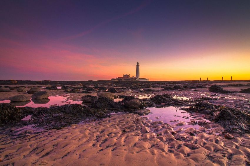 St Mary's lighthouse Sunset Sea Sky Low Angle View