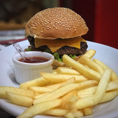 French Fries Unhealthy Eating Burger Hamburger Food And Drink Fast Food Food Plate