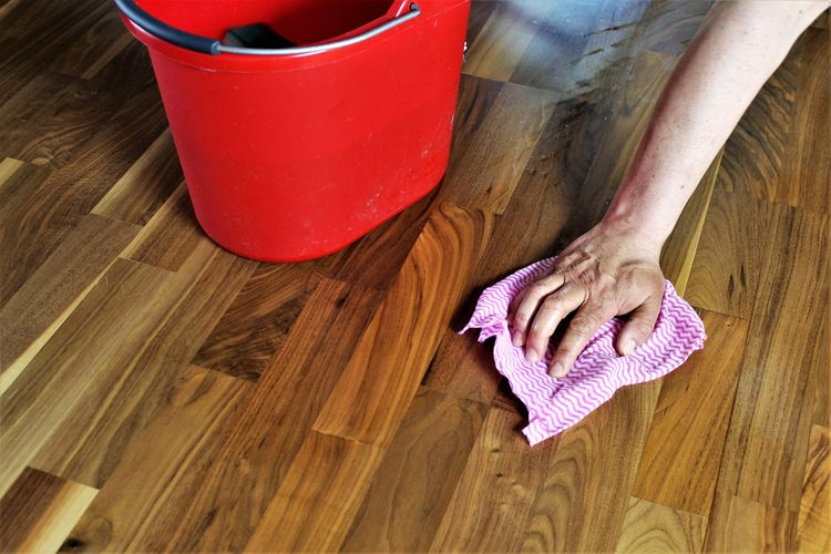 An Image of cleaning a floor Chemical Clean Cleaner Concept Disinfection Floor Hand Home Housewife Housework Rubber Work