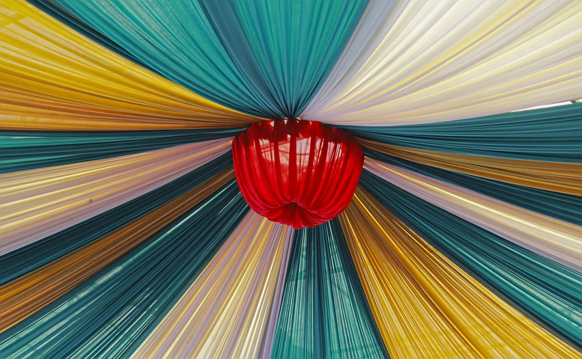 Beautifully Organized Red Multi Colored Cultures Backgrounds Pattern Low Angle View No People Celebration Abstract Hanging Outdoors Yellow Day A New Beginning The Art Of Street Photography