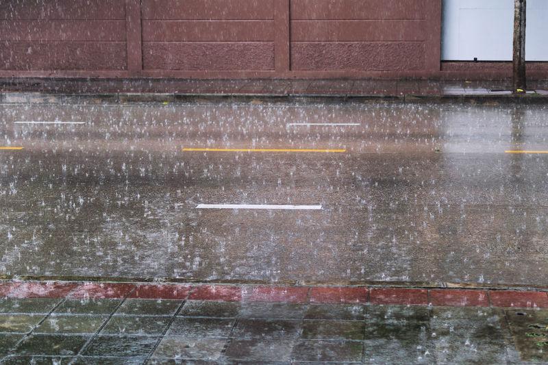Wet window of building